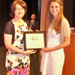 2013 JCWA scholarship winner Lauren Virgin with JCWA Vice President Kristina Tarasan